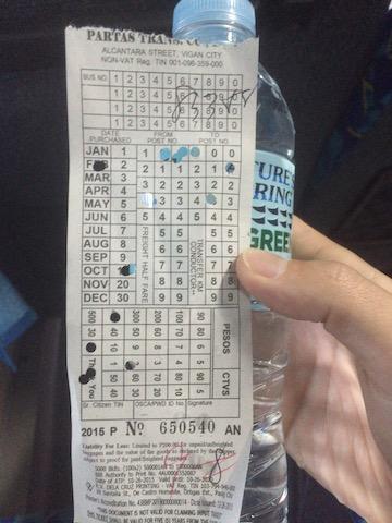 PALTASのバスのチケット。
