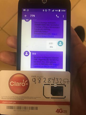 開通したClaroのSIM
