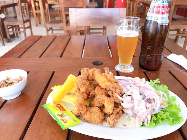 el Miradorのセビーチェと唐揚げのセットとビール