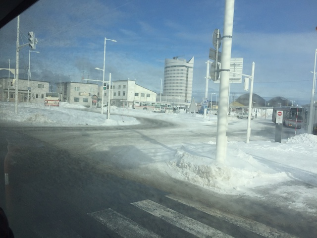 稚内市内へ向かうバスからの景色