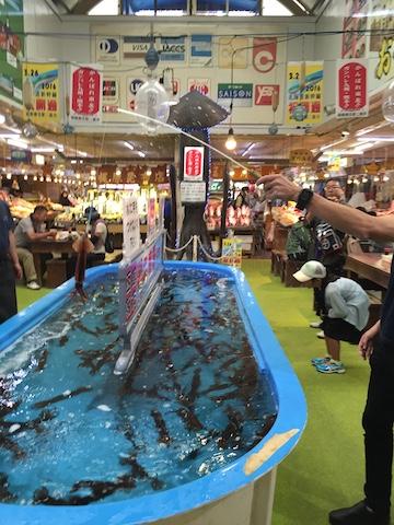 函館朝市でのイカ釣り